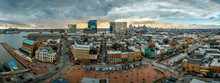 Aerial Skyline View Of Fells Point And Downtown Baltimore Maryland On A Winter Afternoon