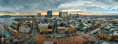 Aerial skyline view of Fells Point and Downtown Baltimore Maryland on a winter a Canvas Print