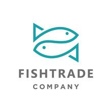 Simple Fish Trade Logo Icon Ve...