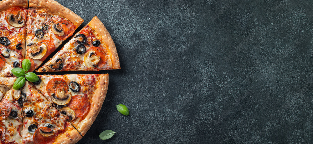 Fototapety, obrazy: Tasty pepperoni pizza with mushrooms and olives.