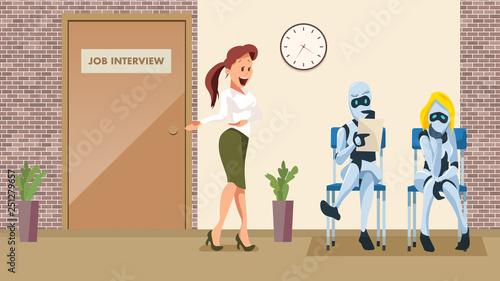 Fotografía  Two Robot Wait Job Interview in Office Corridor