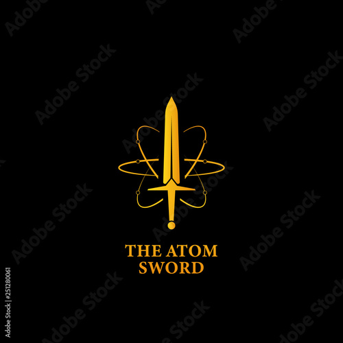 Photo The mighty atom sword logo icon, super power magic sword logo symbol in gold col