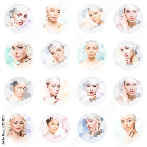 Poster Chambre d enfant Beautiful face of young and healthy girl in collage. Plastic surgery, skin care, cosmetics and face lifting concept.