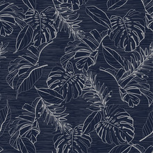 Monotone Blue Floral And Tropical Leaves Seamless Pattern,palm Trees In Hand Drawn Line Sketch