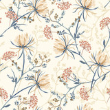 Seamless pattern of soft and graceful oriental blooming flowers,botanical vector design for fashion,fabric,wallpaper,and all prints
