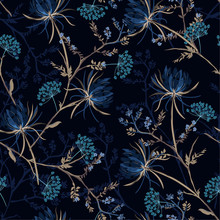 Dark Garden Night  Monotone Blue Color Seamless Pattern Of Soft And Graceful Oriental Blooming Flowers,botanical Vector Design For Fashion,fabric,wallpaper,and All Prints