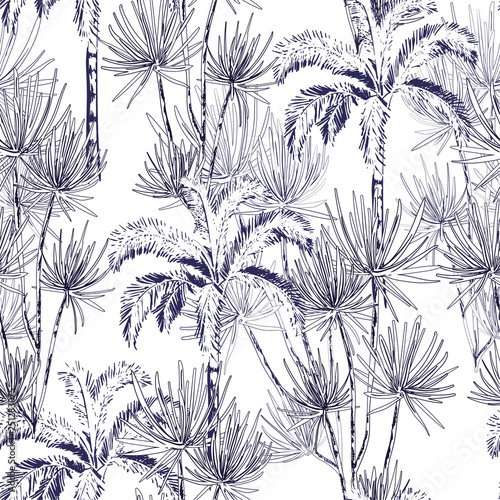 fototapeta na lodówkę Hand drawn doodle line sketch plam and coconut trees ,island design fot fashion,fabric, and all prints
