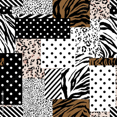 fototapeta na drzwi i meble Trendy animal skin mixed with geometric pattern ,polka dots and stripe in modern patchwork collage style seamless vector