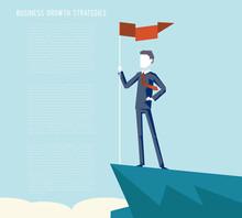 Business Triumph Top Flag Point Goal Achievement Businessman Character Symbol Mountain Clouds Background Business Concept Flat Design Vector Illustration