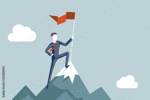 Pinturas sobre lienzo  Conquering heights flag businessman conqueror character achievement top point ao