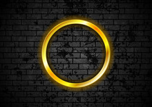Glowing Golden Neon Circle Fra...