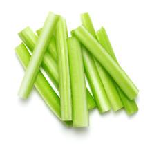 Fresh Green Celery Sticks Isolated On White Background