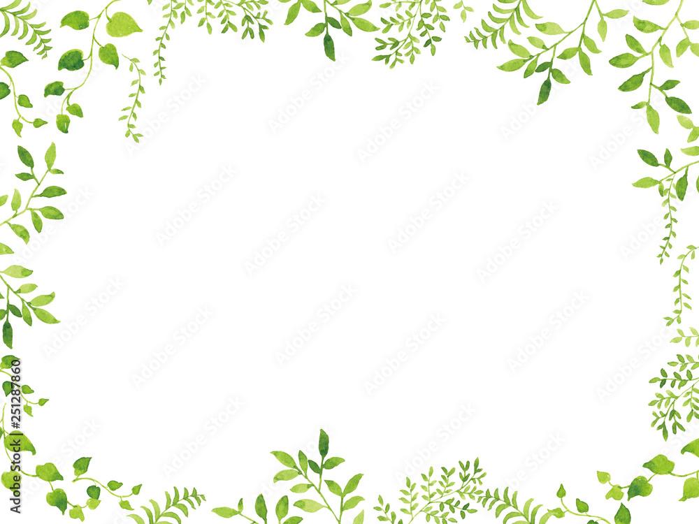 Fototapety, obrazy: 水彩 新緑フレーム