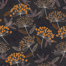 Vintage Hand Drawn Seamless Vector Pattern. Fall/winter Line Flowers And Orange Berries Design For Fashion,fabric.wallpaper And All Prints