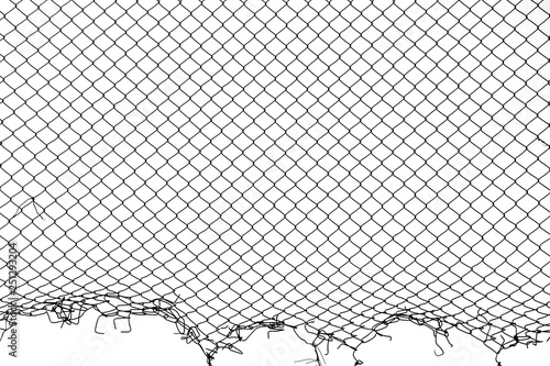 Fotomural  damaged wire mesh on white background