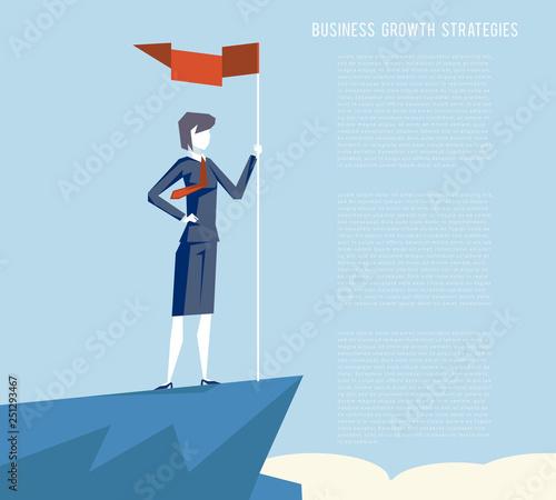Cuadros en Lienzo Business triumph woman top flag point goal achievement businesswoman character s