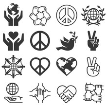 Peace And Love Symbol Icons Se...