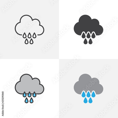 Cloud and rain drops icon  Line, glyph and filled outline