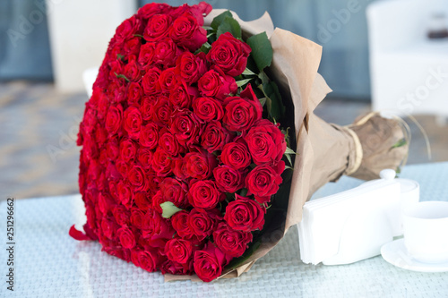 Large bouquet of 101 red rose. Wallpaper Mural