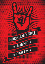 Vector Template For Design Of A Grunge Poster On The Theme Of Rock Night Party