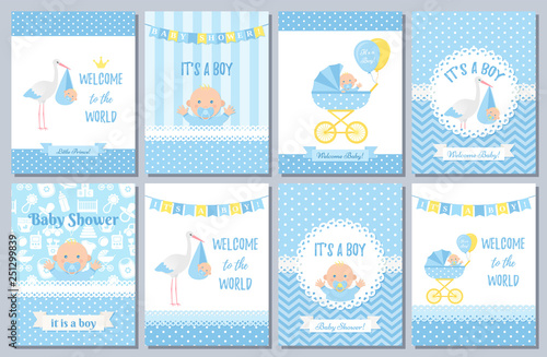 Obraz Baby Shower card. Vector Baby boy design. Invite banner. Cute birth party background. Welcome born template. Blue happy greeting poster with kid, stork, pram polka dot print. Cartoon flat illustration - fototapety do salonu