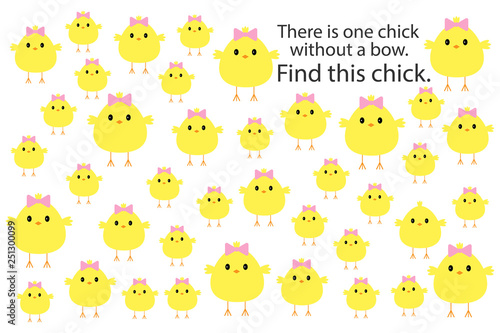 Fototapeta Find chick without bow, easteras fun education puzzle game for children, prescho
