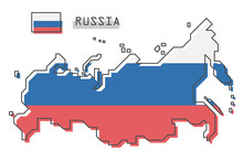 Russia Map And Flag . Modern S...