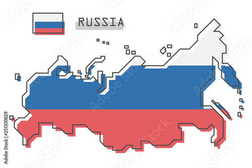 Obraz Russia map and flag . Modern simple line cartoon design . Vector . - fototapety do salonu
