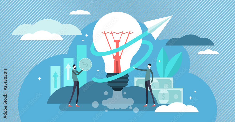 Fototapeta Business ideas vector illustration. Flat tiny start up work persons concept