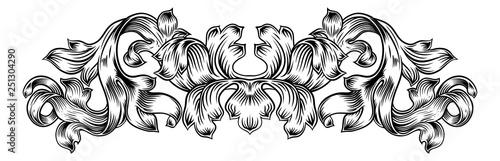 A floral filigree pattern scroll laurel leaf baroque vintage style design motif