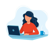 Woman Working With Computer. C...