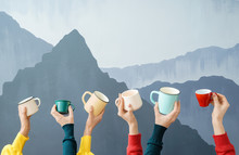 Female Hands With Tea Cups On Color Background