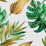 Seamless pattern with green tropical palm and monstera leaves. Exotic and jungle trendy style. Hand drawn watercolor illustration. Exotic hawaiian summer design for print, printing on paper or fabric - 251306450