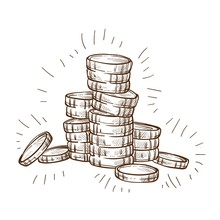 Shiny Coins Stack Isolated Ske...