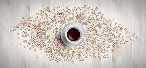 Coffee concept on wooden ba...