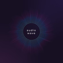 Sound Circle Wave. Abstract Music Ripple, Audio Amplitude Waves Flux Vector Background. Illustration Of Sound Music Ripple, Circle Wave Audio Signal
