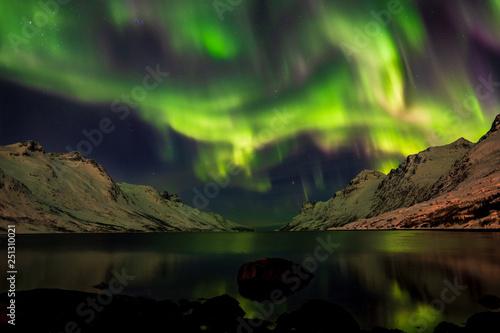 Keuken foto achterwand Noorderlicht Intense Northern lights over Ersfjord, Kvaløya, Tromsö