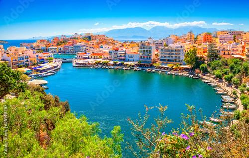 Vászonkép Agios Nikolaos and Voulismeni lake in Crete island, Greece.