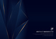 Abstract template dark blue luxury premium background with luxury triangles pattern and gold lighting lines.
