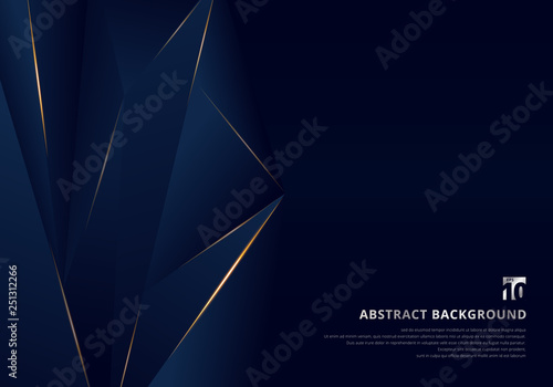 Foto  Abstract template dark blue luxury premium background with luxury triangles pattern and gold lighting lines