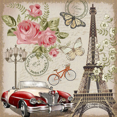 FototapetaParis vintage postcard.