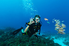 Young Woman Scuba Diver Showin...