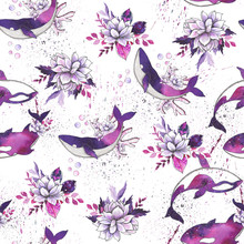 Ocean Watercolor Collection With Silhouettes Of Sea Animals: Whales, Dolphins, Killer Whales, Stingrays And Narwhals With Purple Flower And Fantastic Space Backgrounds