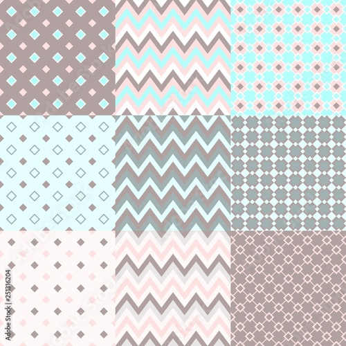 Set Of Abstract Vector Seamless Geometric Patterns For