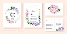 Wedding Invitation, Save The Date, Thank You, Rsvp Card Design Template. Vector. Hydrangea Flowers, Ivy Plants.
