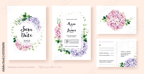 Wedding Invitation, save the date, thank you, rsvp card Design template Fototapet