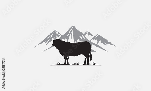black angus logo design, beef angus Canvas Print
