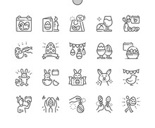 Easter Well-crafted Pixel Perfect Vector Thin Line Icons 30 2x Grid For Web Graphics And Apps. Simple Minimal Pictogram