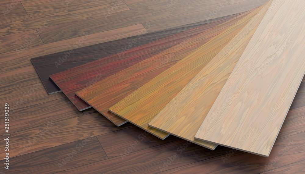 Fototapeta Color samples of wooden laminate floor. 3D rendered illustration.