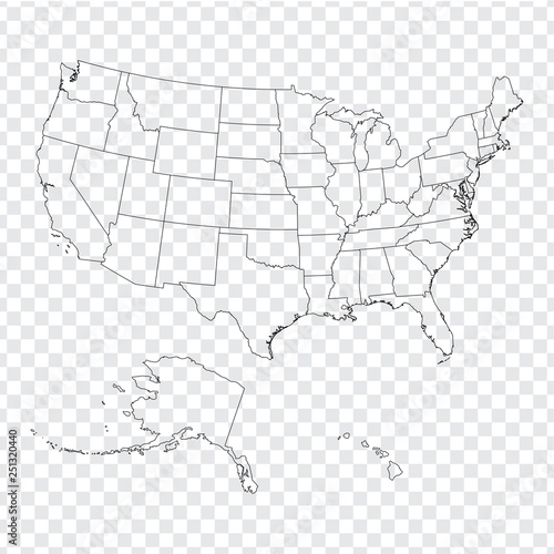 Blank map United States of America. High quality map of USA ...